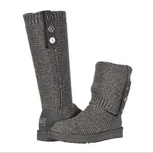 UGG Purl Cardy Knit High Fold Down Boot Charcoal